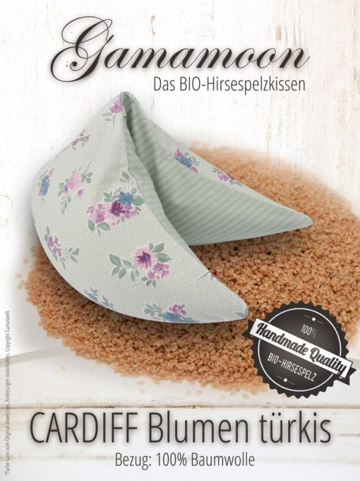 Gamamoon Nackenkissen Hirsespelzkissen Cardiff Blumen türkis grün