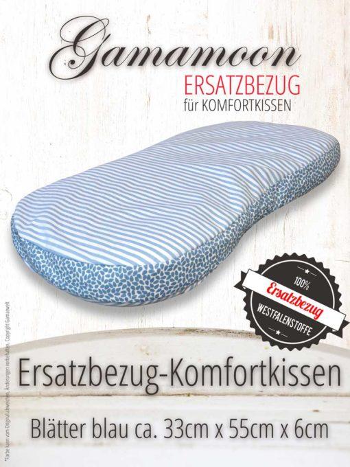 Ersatzbezug Komfortkissen Hirsespelzkissen Blaetter blau