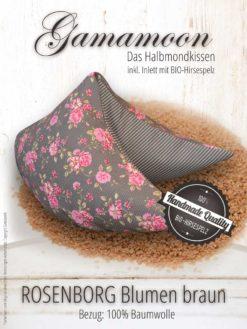 Gamamoon Nackenkissen Hirsespelzkissen Rosenborg Blumen braun