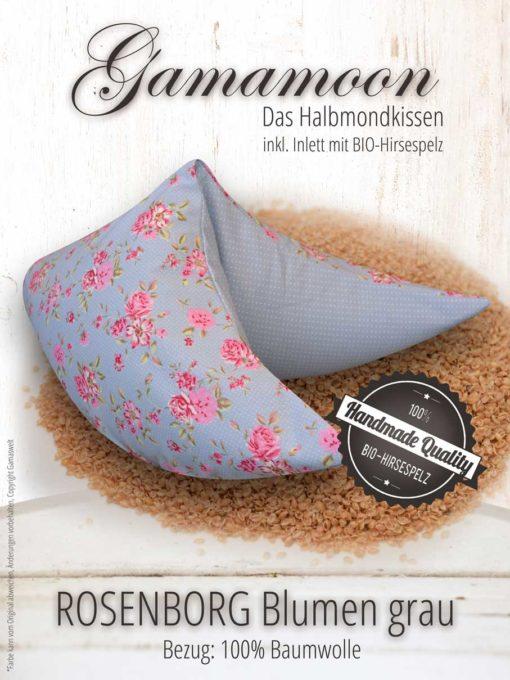 Gamamoon Nackenkissen Hirsespelzkissen Rosenborg Blumen grau