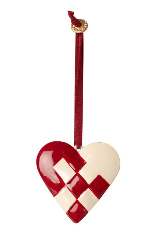 Maileg Metal Ornament Braided Heart red