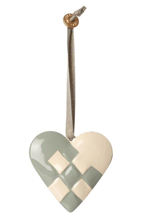 Maileg Metal Ornament Braided Heart green
