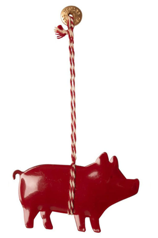 Maileg Metal Ornament Pig red