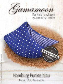 Gamamoon Hirsekissen Hamburg Punkte blau Halbmondkissen