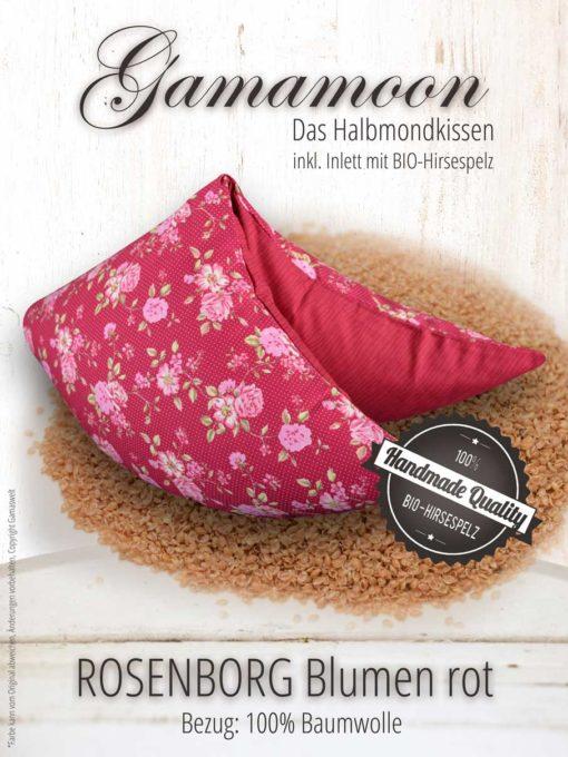Gamamoon Hirsekissen Rosenborg Blumen rot Halbmondkissen