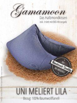 Gamamoon Hirsekissen uni meliert lila Halbmondkissen